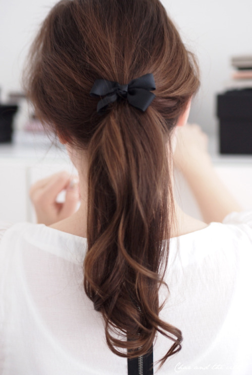 Demure Tousled Pony Tail with Elegant Ribbon Bow