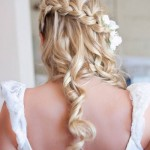 Half Up Half Down Wedding Hairstyle - Waterfall Braid 2014