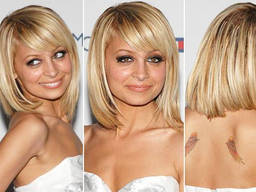 Nicole Richie Blonde Bob Hairstyle With Side Swept Bangs