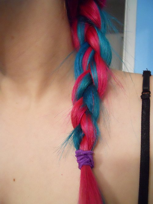 Cute Hair Pink Amp Blue Hair Colored Braid For Women