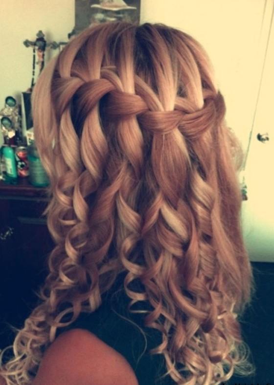 Curly Waterfall Braid Formal Ringlets Braid Long Style