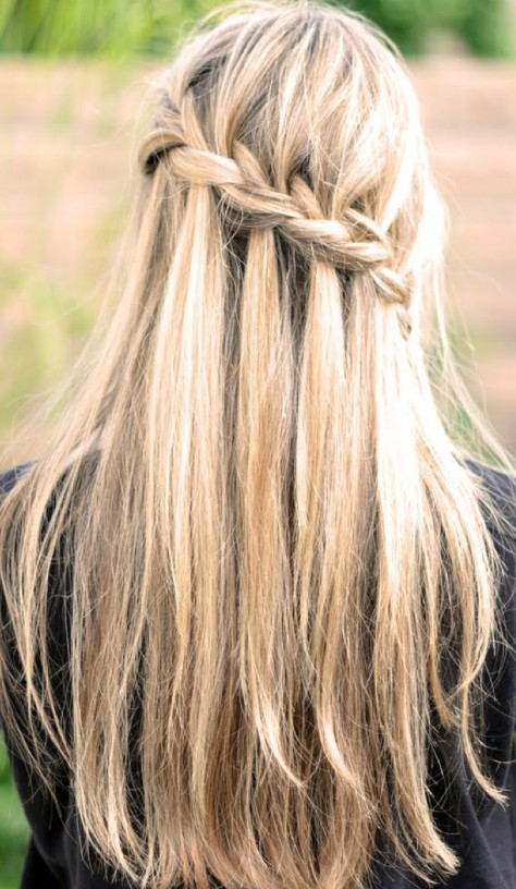 waterfall braid for long straight hair back view