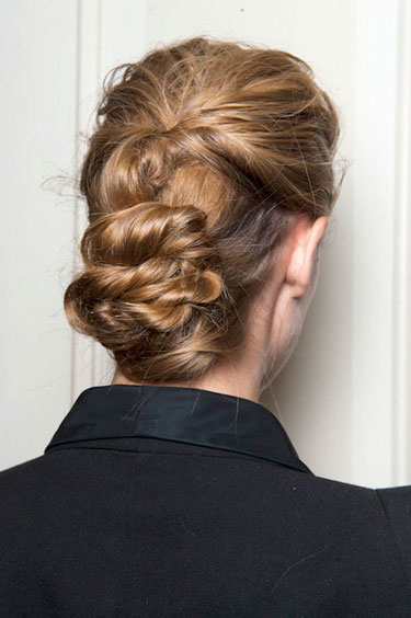 Back View of Retro Free-Form Low Chignon