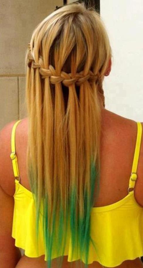 Blonde Green Waterfall Braid