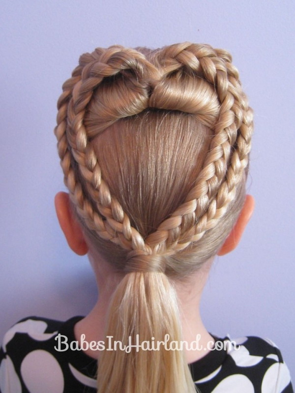 Cute Heart Braided Updo - Valentines Day Hairstyle Ideas