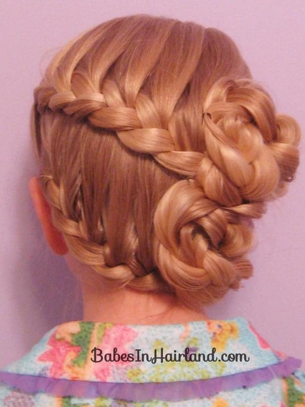 Elegant braided updo for girls - Half French Braided Updo