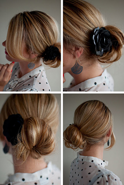 Side Chignon with Corsage for women