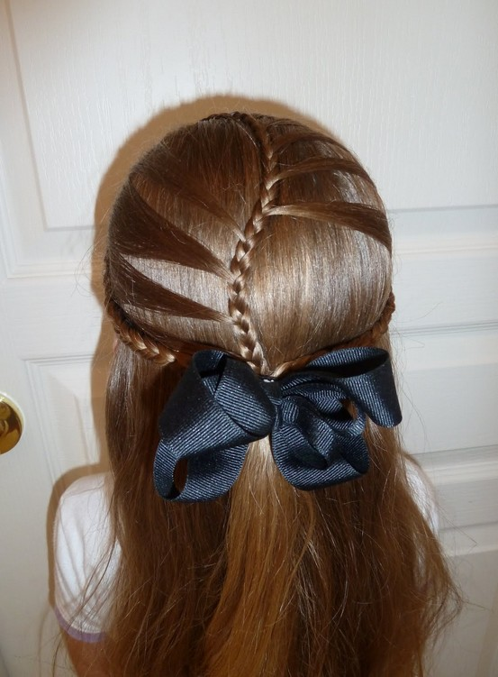 Back View of Braided Hairstyle for Girls