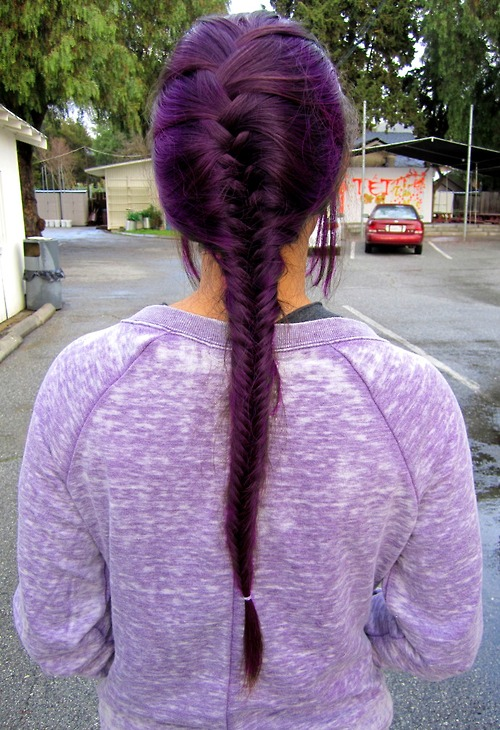 Deep Purple Fishtail Braid Hair Ideas For Long Hair