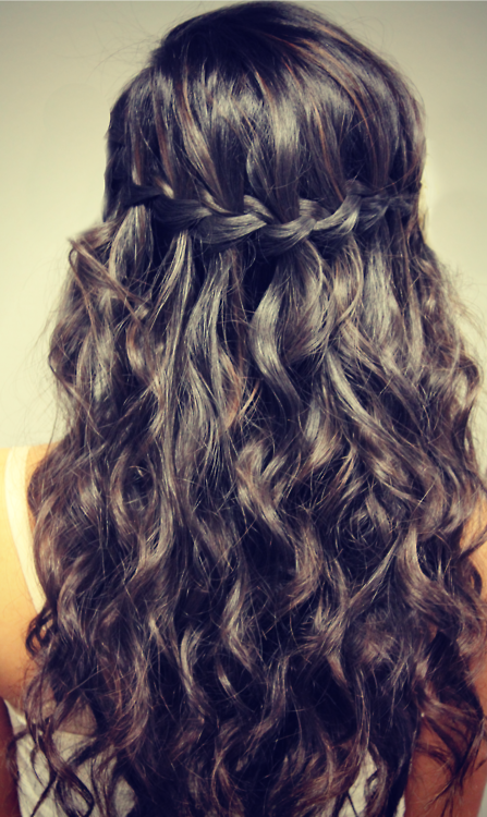 Picture of Back view of dark waterfall plait waterfall braid /tumblr