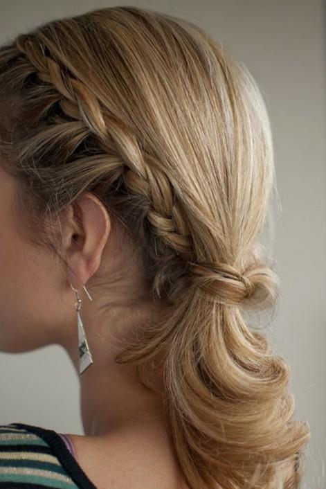 Braided Ponytail Hairstyle for Medium Hair 2014