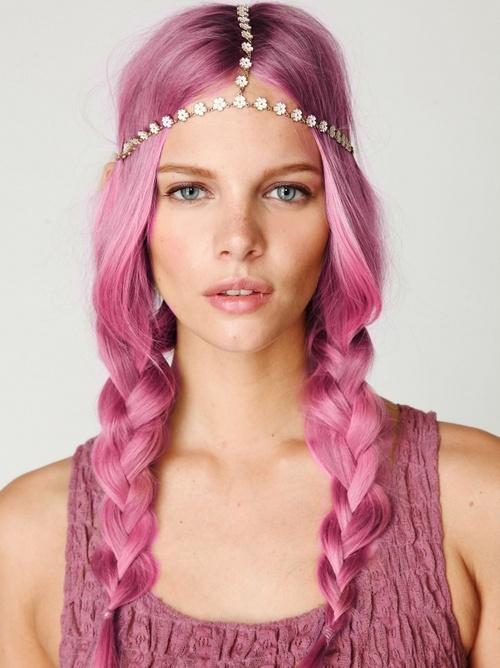 Pink Hippy Plaits With Daisy Headband Hairstyles Weekly