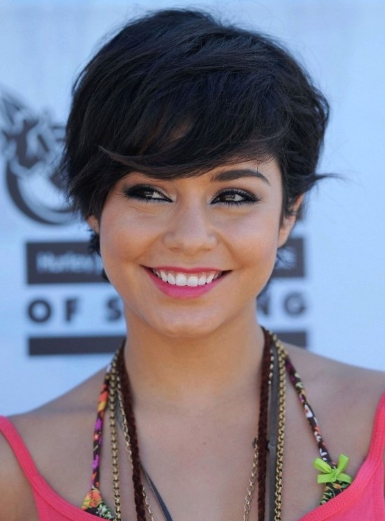 Cute Short Black Hairstyle with Side Swept Bangs