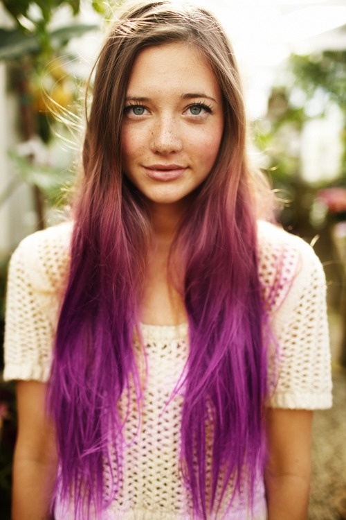 Long blonde to purple ombre hair styles