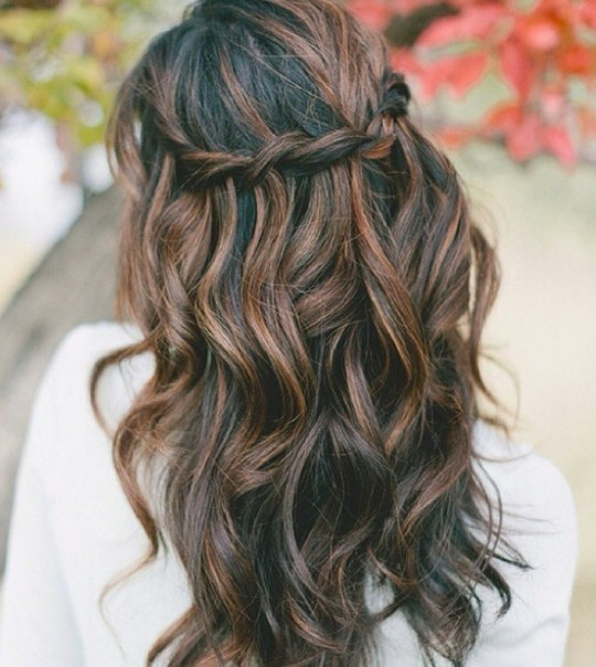 Prom Hairstyles - Romantic Black Waves & Chestnut Highlights ...