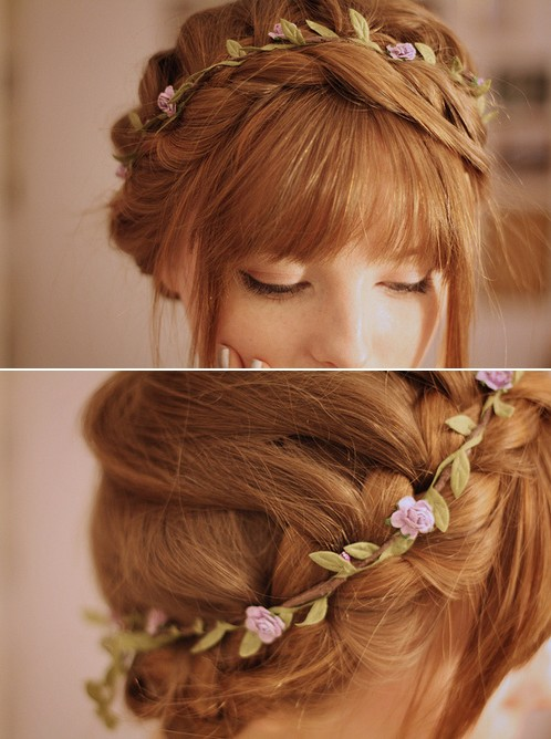 Romantic Flower Braid Updo with Rosebud Band