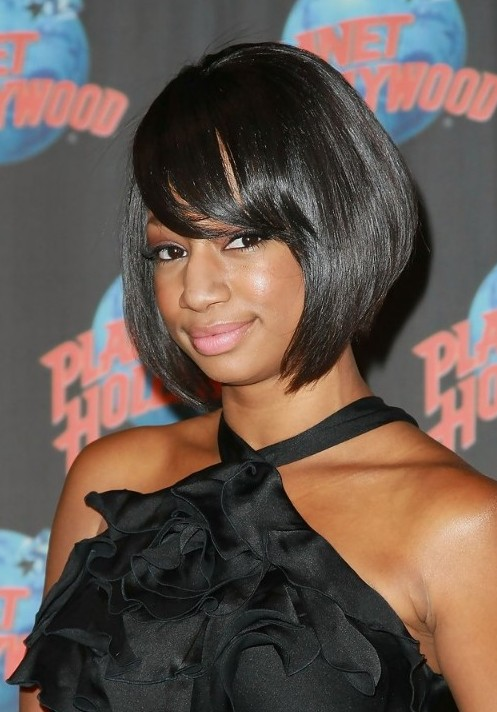 Short Black Bob Hairstyle with Side Swept Bangs