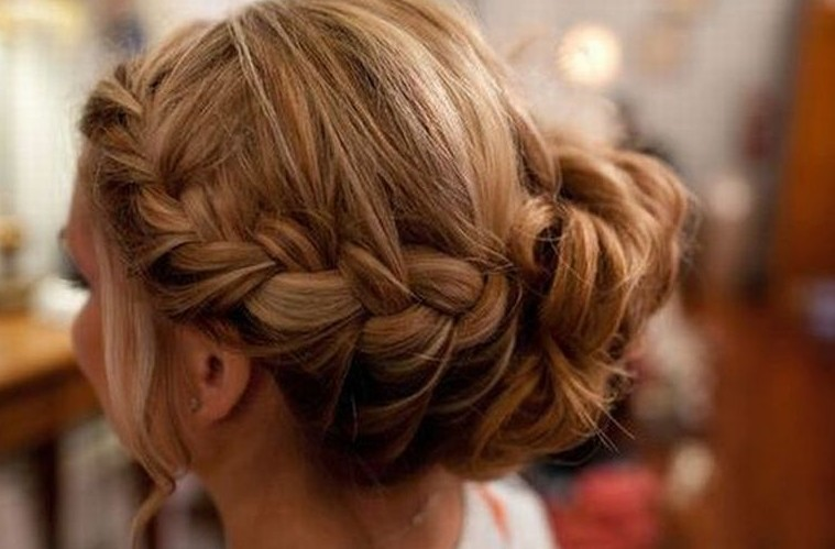Braided Wedding Hairstyle for 2014 – Braid & Chignon with Highlights