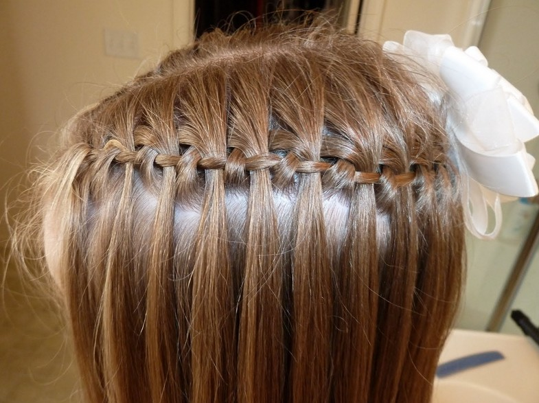 Side View of Cute waterfall braid for Girls