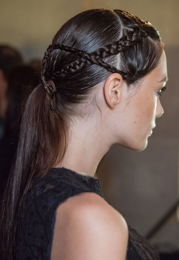 Trendy Low Ponytail Hairstyle With Criss Cross Braid