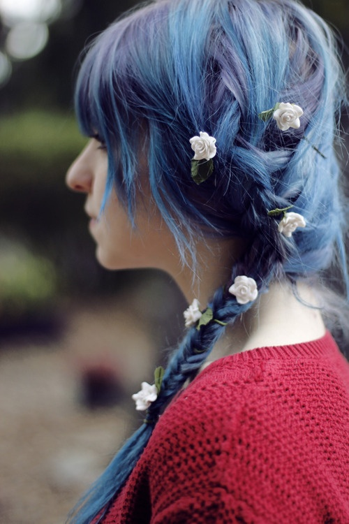 Wild and Colorful Hair 2014 - Messy Blue Braid with Pink Rosebuds