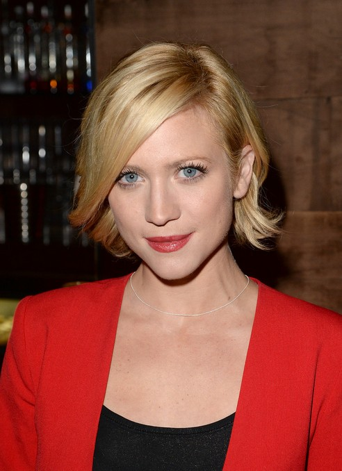 Short Bob Cut With Side Swept Bangs Brittany Snow Short
