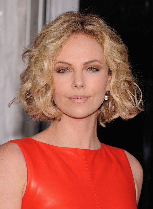 Charlize Theron short curly bob hairstyle