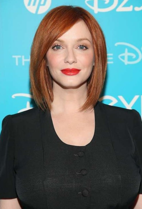 Christina Hendricks short straight red bob cut