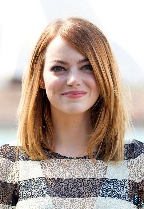Long Bob Hairstyle for Round Faces – Emma Stone Hairstyles /Getty ...
