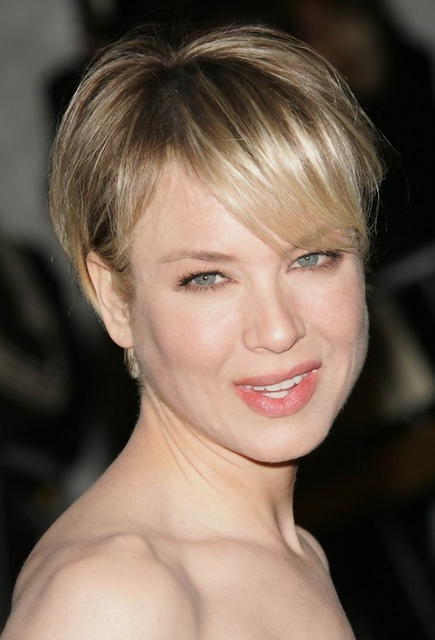 Short Boy Cut With Bangs For Round Faces Renee Zellweger Short - Hairstyle for boy with round face