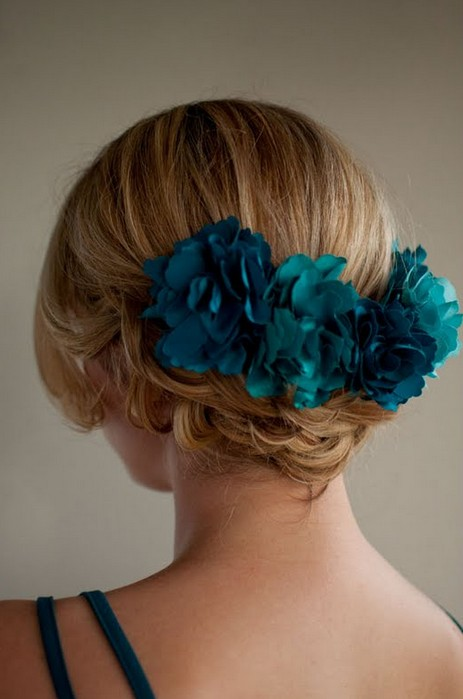 Back View of Braided Updo with Blue Hair Accessory
