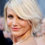 Cameron Diaz Hairstyle- Chic short blonde bob cut with bangs