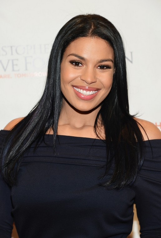 Jordin Sparks Hairstyle Casual Long Sleek Black Hair