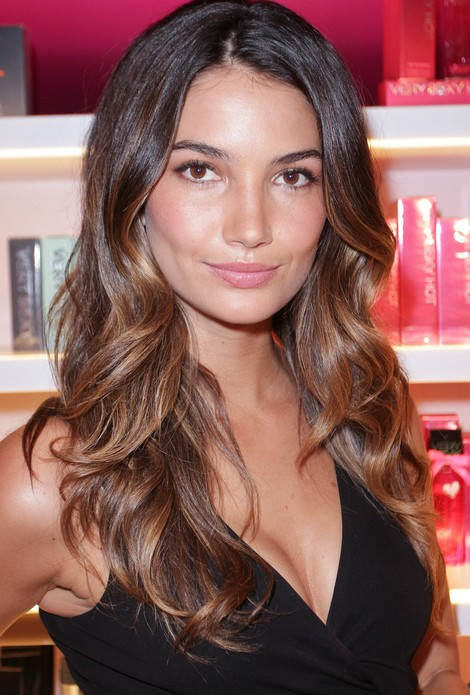 lily aldridge edium auburn dark golden blonde highlights