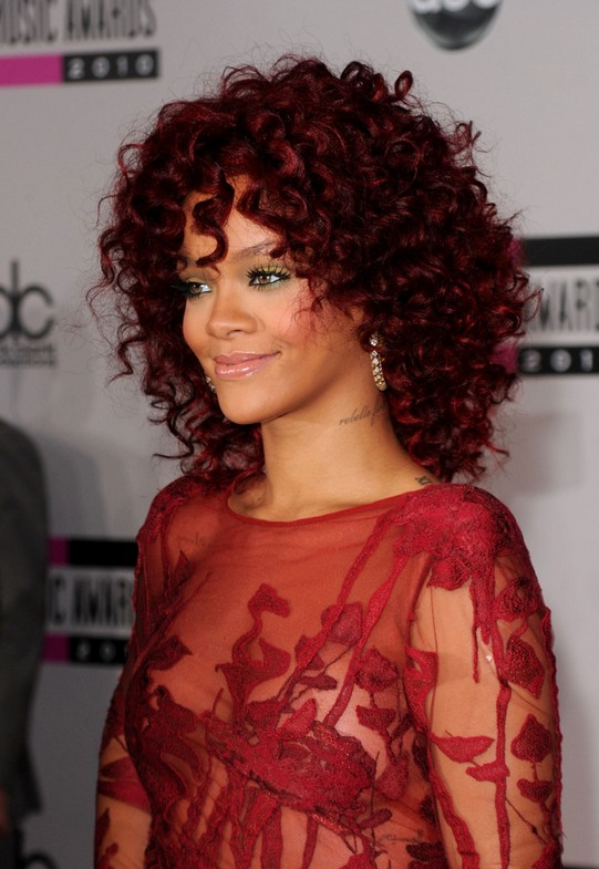 Rihanna Medium Red Curly Hairstyle