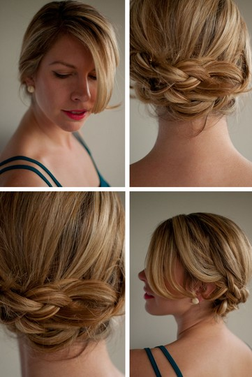 Romantic Low Braided Updo for Summer