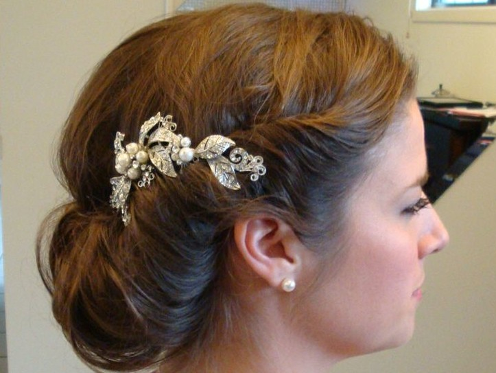 Side View of Romantic Chignon for Bride
