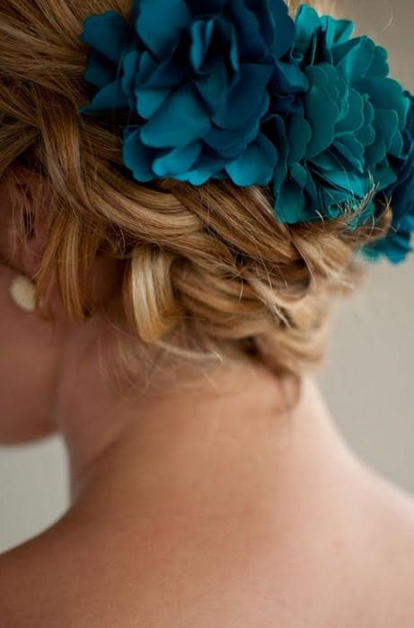 Summer Hair Ideas Braided Updo with Blue Hair Accessory