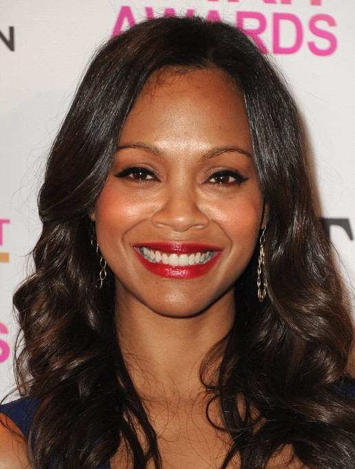Zoe Saldana Long Black Curly Hairstyles