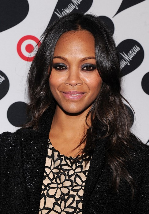 African American Hairstyle Ideas Gorgeous Long Black Wavy Curly Hair Style Actress Zoe Saldana