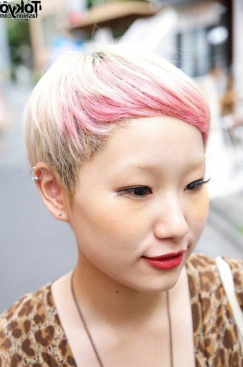 Chic Japanese Blonde to Pink Ombre Hair for Short Hair