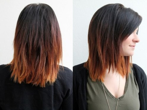 Short Ombre Hair - Dark to Brown Ombre Hair