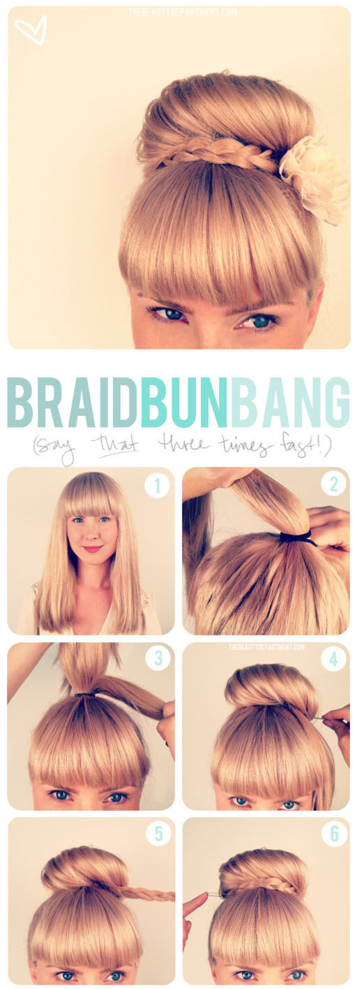 DIY Wedding Hairstyles: Cute The Braid Bun Bang Updo for Wedding
