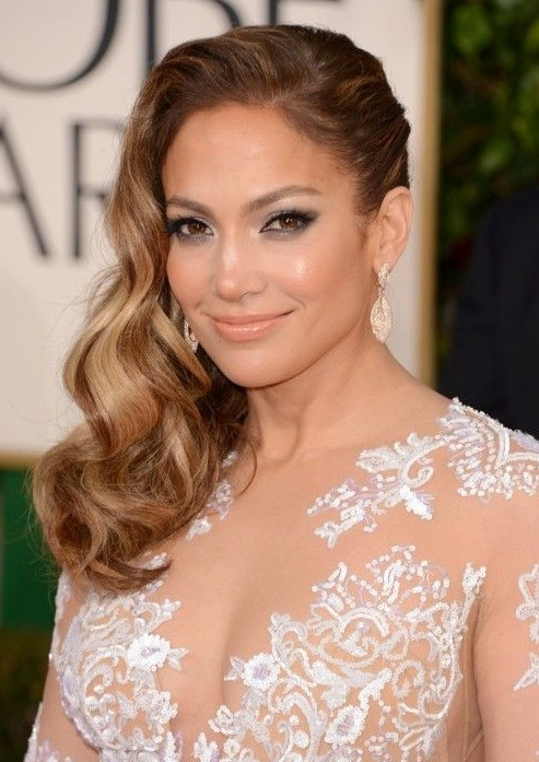 Jennifer Lopez Side Parted Long Hairstyle