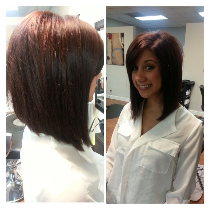 Medium Long Length Angled Bob Hairstyle