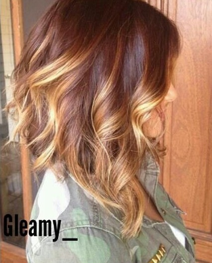 Long Ombre Angled Bob Haircut with Waves