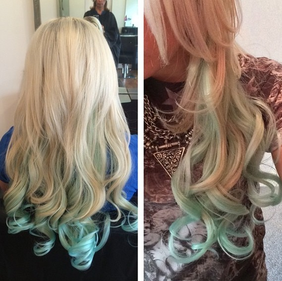 Mermaid Green Hairstyle for Summer