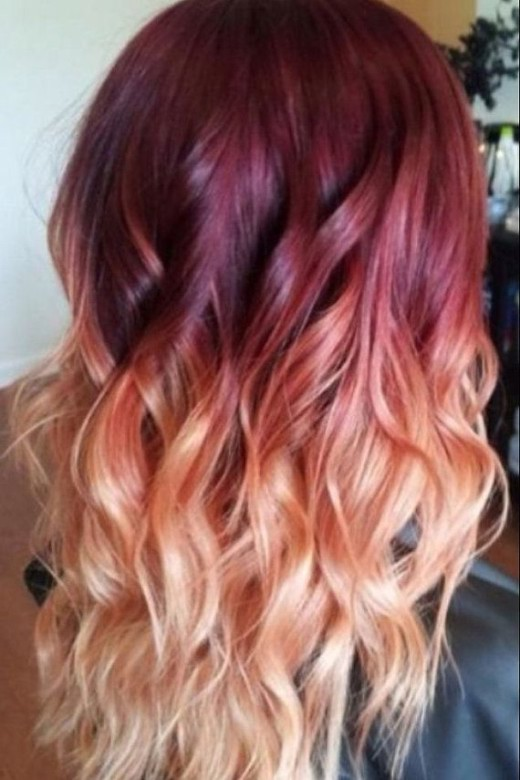 Red To Blonde Ombre Hair With Waves  Ombre Hair Color Ideas  Hairstyles Weekly