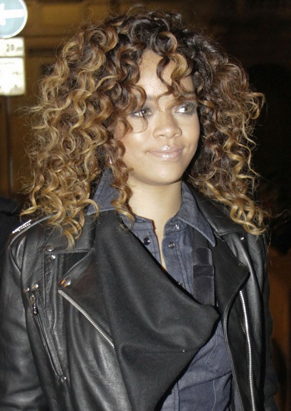 Rihanna Long Curly Hairstyle For Black Women Hairstyles