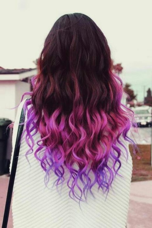 Back view of Sexy Brown to Pink Purple Ombre Hair for long hair